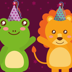 cute frog and tiger animals funny celebration happy birthday vector illustration