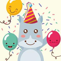 cute hippo cartoon balloons confetti decoration happy birthday vector illustration