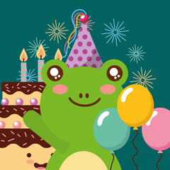 cute frog and sweet cake candles balloons decoration happy birthday vector illustration