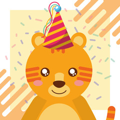 cute tiger party hat confetti celebration happy birthday vector illustration