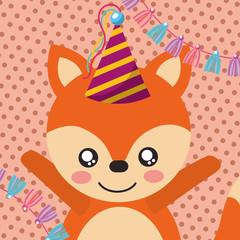 cute fox party hat decoration label happy birthday vector illustration