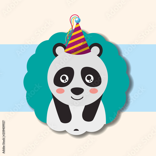 Cute Panda Party Hat Decoration Label Happy Birthday Vector Illustration