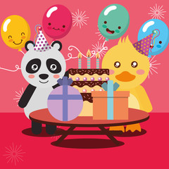 happy birthday party card cute pandan and duck animals vector illustration