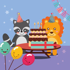 happy birthday party card cute raccoon and lion animals vector illustration