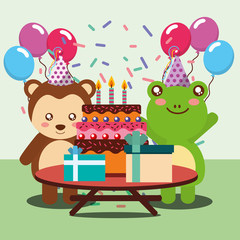 happy birthday party card cute frog and monkey animals vector illustration
