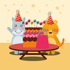 happy birthday party card cute hippo and tiger animals vector illustration