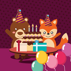 happy birthday party card cute bear and fox animals vector illustration