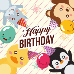 cute happy birthday card with fun duck penguin monkey and hippo vector illustration