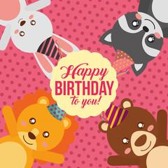 cute happy birthday card with bunny raccoon lion and bear vector illustration