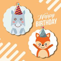 cute happy birthday card funny hippo and fox vector illustration