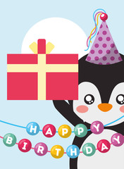 happy birthday card and cute little penguin and gift vector illustration