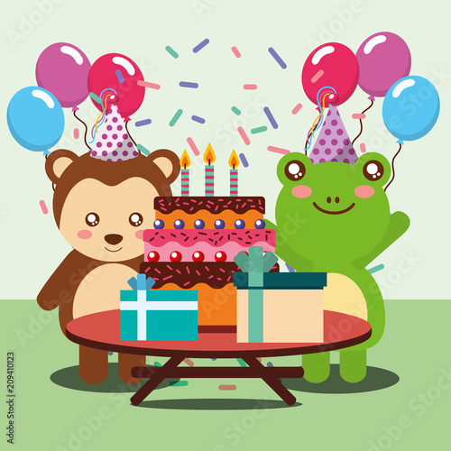 happy birthday party card cute frog and monkey animals vector