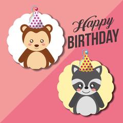 cute happy birthday card funny raccoon and monkey vector illustration