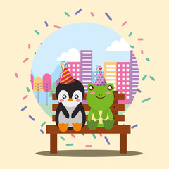 cute penguin and frog sitting in bench the city happy birthday card vector illustration