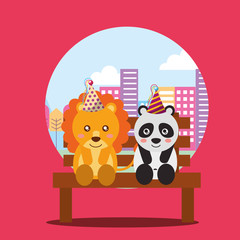 cute lion and panda sitting in bench the city happy birthday card vector illustration