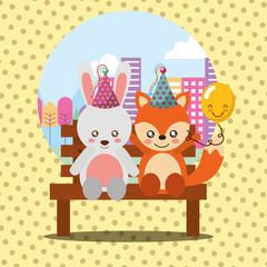 cute rabbit and fox sitting in bench on city happy birthday card vector illustration