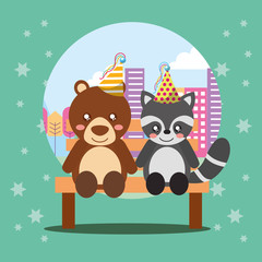 cute raccoon and bear sitting in bench on city happy birthday card vector illustration