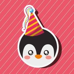 cute penguin face cartoon party hat vector illustration