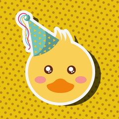 cute duck face with party hat vector illustration