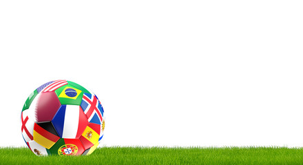 Qatar and France and more flags design soccer ball isolated 3d rendering