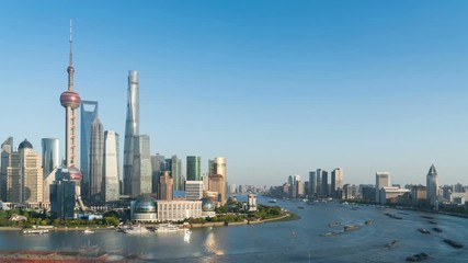 Fotomurales - time lapse of shanghai cityscape at dusk , busy water transport on huangpu river bend , China