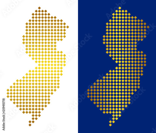 Golden dotted New Jersey State map. Vector geographical maps in ...