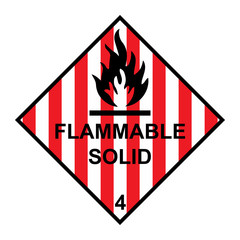 Flammable solid diamond with flames symbol