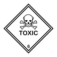 Hazard Warning Toxic 6 Labels