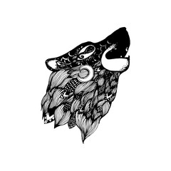 Wolf tattoo illustration