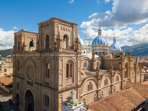 Ecuador Cuenca the Immaculate Conception cathedral aerial view in a sunny day with blue sky