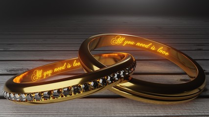 Marriage bond, trust, tie - symbolized by All you need is love words glowing in golden wedding rings, part 2, 3d illustration