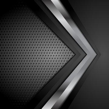Black technology background with metallic arrow