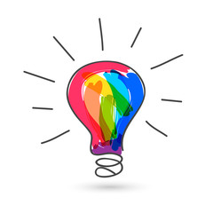 Colorful lightbulb. Hand drawn doodle and sketch with paintbrush strokes.
