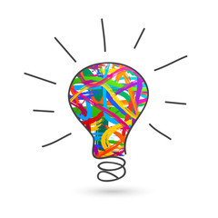 Hand-drawn colorful light bulb doodle with paintbrush strokes as creative idea and creativity concept