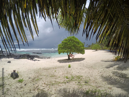 Looking Through Palm Fronds At Beach In Lea Matautu With Stormy Gray Sky On