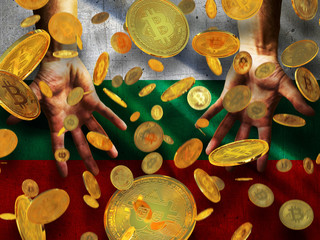 Bitcoin crypto currency Bulgaria flag A lot of falling  gold bitcoins Rain of golden coins fall to the palms of the hands on Republic of Bulgaria waving flag grunge style background