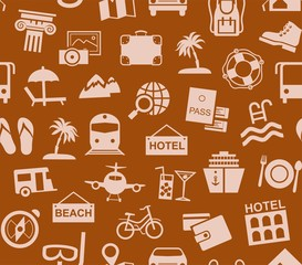 Travel, vacation, tourism, vacation, seamless pattern, brown, color, vector. Different types of holidays and ways of travelling. Vector, color background. Beige patterns on a brown background.