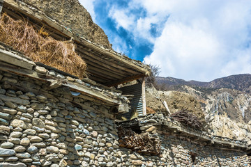 Shelter for hay storage in the Nepalese village.