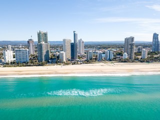 Surfers Paradise beach from an aerial perspective On the Gold Coast in Australia