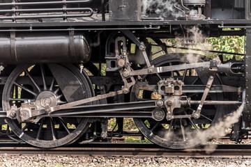 Steam locomotive train wheels