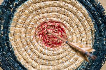 Bogenschießen, Zielscheibe aus Stroh