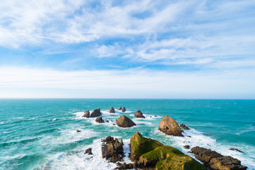Nugget Point, Rocks cliffs, and beautiful ocean. The Catlins, New Zealand.