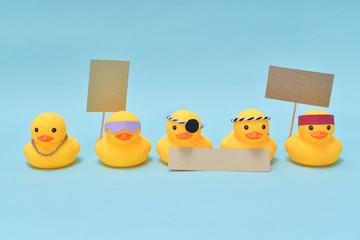 Protest concept, rubber ducks are protesting
