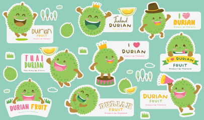 Cute Durian Vector 5 / Cute Durian Vector Packaging Design labels / Mascot Vector Design