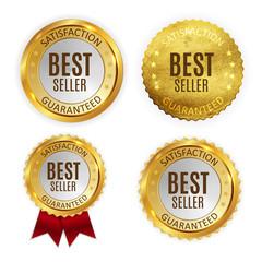 Best Seller Golden Shiny Label Sign Collection Set. Vector Illustration