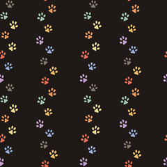 Seamless pattern of cat footprint. Stylish vector print.