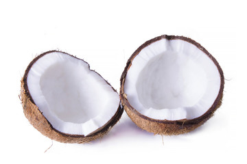 pieces of coconut isolated on white