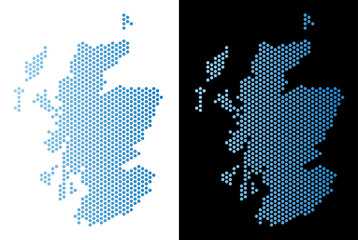 Hex-Tile Scotland map. Vector territorial plan in light blue color with horizontal gradient on white and black backgrounds. Abstract Scotland map concept is designed with honeycomb items.