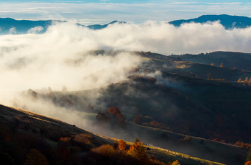 cloud inversion in autumn mountains. beautiful nature scenery. fog rolling above the rural fields in forenoon