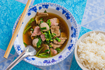 Beef noodles with braised beef and meatball delicious Chinese style Asian favorite Thai street food.